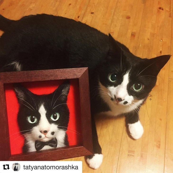 Новый японский тренд - 3D-портреты кошек